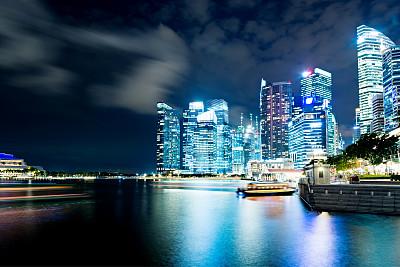 新加坡市,夜晚,商务,居住区,滨海湾 ,水,天空,水平画幅,新加坡,无人