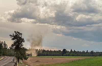 尘卷,农场,尘暴,龙卷风,自然,俄勒冈州,俄勒冈郡,暴风雨,水平画幅,无人