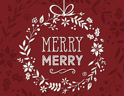 圣诞卡,旋转类游乐,花环,猩猩木,绘画插图,边框,无人,古典式,冬天