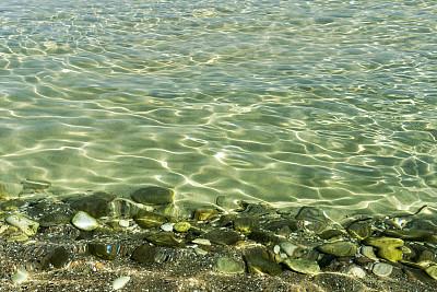 海滩,色彩鲜艳,ayia kyriaki chrysopolitissa,萨索斯,海底,水,天空,留白,褐色,水平画幅