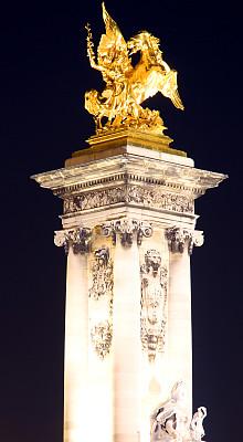 马,金色,俄罗斯亚历山大三世,alexander the great,亚历山大三世桥,莱斯恩范李德斯城区,塞纳河,垂直画幅,纪念碑,夜晚