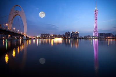 广州,夜晚,月亮,中秋节,办公园区,观光船,吊桥,天空,留白,未来