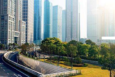 办公大楼,浦东,公园,水平画幅,无人,夏天,户外,草,都市风景,现代