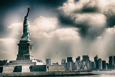 自由女神像,自由岛,商务关系,曼哈顿中心,美国国庆日,纪念碑,天空,夏天,自由,都市风景