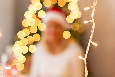 圣诞小彩灯,留白,水平画幅,纹理效果,夜晚,新年,圣诞树,完美,明亮