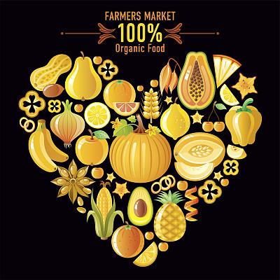 黄色,蔬菜,水果,心型,黑色背景,杨桃,木瓜,素食,椒类食物,绘画插图
