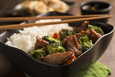 牛肉,西兰花,四川牛肉,中式外卖,选择对焦,胡萝卜,水平画幅,无人,嫩煎食品,膳食