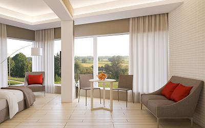宾馆客房,宾馆套房,褐色,水平画幅,无人,现代,彩色图片,样板间,米色,卧室