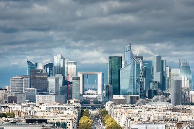拉德芳斯,巴黎,航拍视角,新凯旋门,香榭丽舍大道,水平画幅,无人,市区路,交通,户外