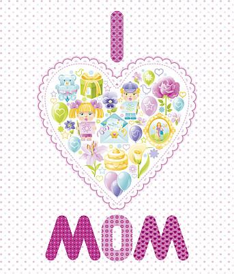 心型,母亲节,凸版印刷,贺卡,学龄前,绘画插图,气球,卡通,仅一朵花,花束