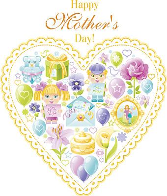 心型,母亲节,贺卡,学龄前,绘画插图,气球,卡通,仅一朵花,花束,彩色图片