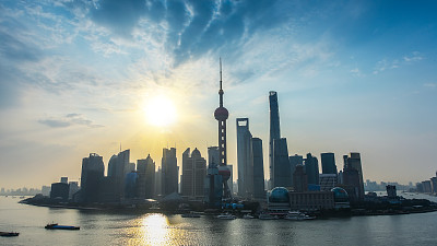 上海,早晨,黄浦江,浦东,水,天空,水平画幅,无人,东亚,户外