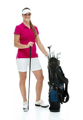 幸福,高尔夫球运动,女性,开球,高尔夫球手,垂直画幅,正面视角,休闲活动,注视镜头,进行中