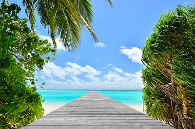 人行桥,码头,木制,海洋,鸡尾酒,木板路,旅游目的地,水平画幅,沙子,无人