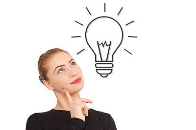 想法,电灯泡,高视角,下巴,智慧,灯,仅成年人,知识,青年人