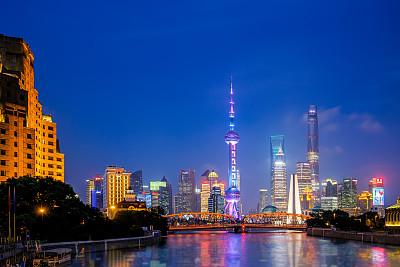 夜晚,都市风景,上海,上海环球金融中心,金茂大厦,黄浦江,东方明珠塔,外滩,黄浦区,陆家嘴