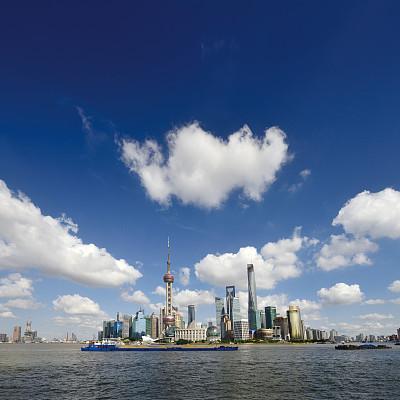 上海,全景,黄浦江,东方明珠塔,外滩,浦东,水,天空,留白,无人