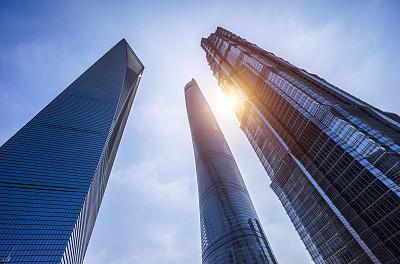 现代,上海,看,办公大楼,正下方视角,天空,未来,新的,水平画幅,无人