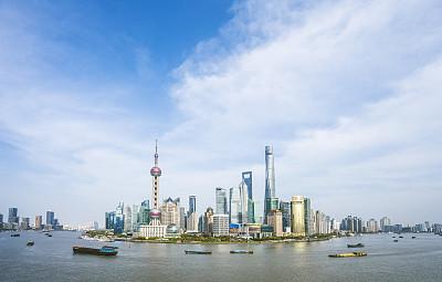 上海,城市天际线,黄浦江,东方明珠塔,外滩,水,天空,未来,水平画幅,无人