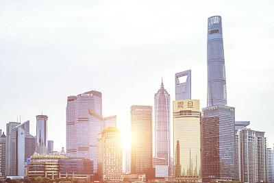 上海,摩天大楼,金茂大厦,黄浦江,东方明珠塔,水,天空,水平画幅,高视角,无人