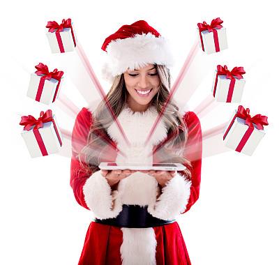 礼物,圣诞老公,电子邮件,圣诞老婆婆,美,圣诞帽,水平画幅,美人,圣诞老人