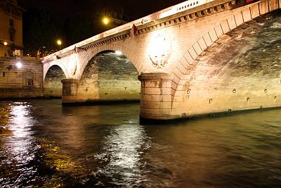 拱门,水,留白,水平画幅,夜晚,无人,运河,古老的,夏天,户外