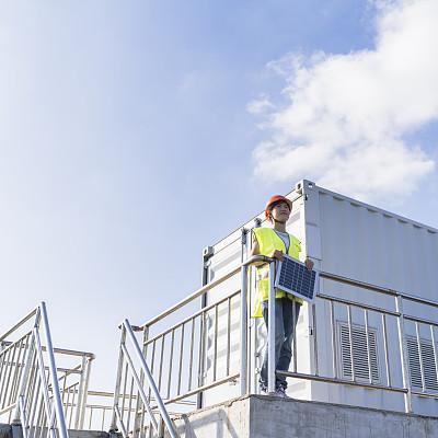 工业,女人,电,调查员,保护服,太阳能发电站,天空,风,风力,能源