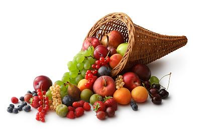 水果,浆果,丰收的羊角,白葡萄,油桃,红醋栗,醋栗,水平画幅,樱桃,无人