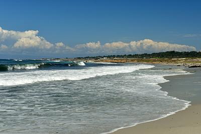 天空,海滩,蓝色,蒙特利,海湾,水平画幅,户外,蒙特利半岛,著名景点,自然