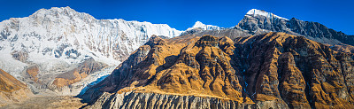 安纳普纳生态保护区,尼泊尔,冰河,喜马拉雅山脉,山,全景,从上面看过去,黑云压城,山谷,南安娜普纳峰群