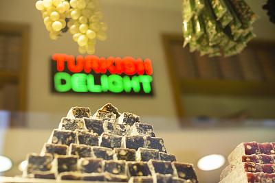 土耳其软糖,伊斯坦布尔,牛轧糖,中东食物,留白,东欧,商店,糖粉,甜点心,开心果