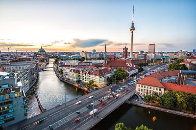 城市天际线,柏林,黄昏,施普河,亚历山大广场,水,水平画幅,夜晚,无人
