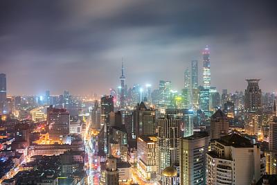 夜晚,上海,核对时间,南京路,水平画幅,建筑,无人,蓝色,建筑外部,户外