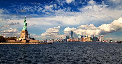 自由女神像,纽约,城市天际线,埃利斯岛,哈德逊河,底座,天空,雕像,运河,旅行者