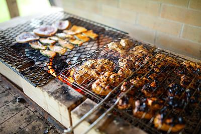 烤肉架,羊肉串,农业市集,格子烤肉,古典式,草坪,夏天,烟,草,锅
