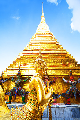 玉佛寺,黄金,雕像,宝塔,仪仗队,垂直画幅,天空,勇士,建筑,无人