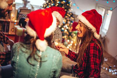 新年前夕,让,羊毛帽,圣诞帽,水平画幅,新年,圣诞树,人群,香槟