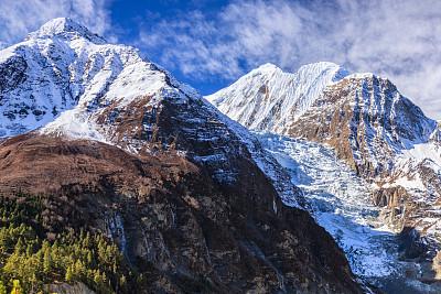 安娜普娜山脉群峰,尼泊尔,全景,山景城,安娜普娜环线,冰瀑,安纳普纳生态保护区,天空,水平画幅,雪