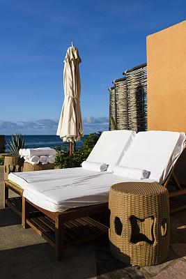 泳池边,椅子,墨西哥,海滩巾,圣路卢卡斯,海滩小屋,躺椅,垂直画幅,白灰泥,度假胜地