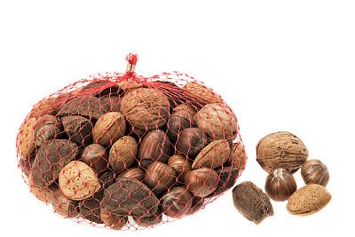 坚果,多样,巴西栗,水平画幅,腰果,无人,榛子,组物体,背景分离,小吃