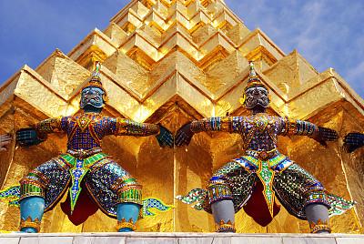 大特写,曼谷,寺庙,玉佛寺,怪兽饰,灵性,艺术,水平画幅,旅行者,特写