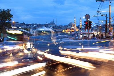 耶尼清真寺,加拉塔大桥,艾米诺努区,红绿灯,纪念碑,灵性,水平画幅,夜晚,无人,古老的