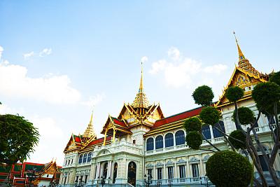 玉佛寺,窗户,天空,瓦,水平画幅,建筑,无人,宫殿,石材,泰国