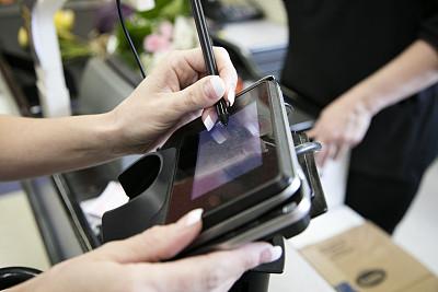 女人,机场,穿孔卡片阅读器,数字化显示,收银员,在家购物,水平画幅,食品杂货,顾客,超级市场