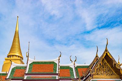 雕塑,泰国,佛,美洲角雕,玉佛寺,天空,巨大的,留白,灵性,古老的