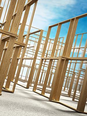 木制,建筑业,垂直画幅,低视角,天空,新的,建筑,伐木搬运业,无人,蓝色