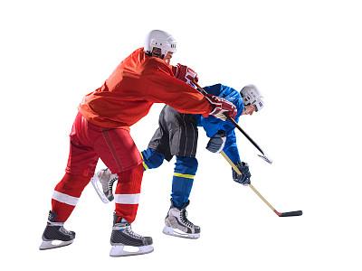 冰球,分离着色,冰球棒,守门员,溜冰鞋,防护品,选择对焦,运动竞赛,水平画幅,努力