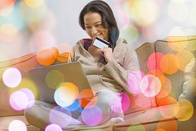 在家购物,笔记本电脑,水平画幅,电子邮件,顾客,新年,信用卡,圣诞装饰物,网上购物