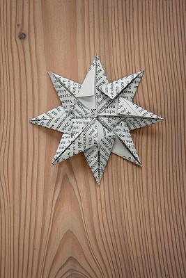 星形,孤星象征,大开版,垂直画幅,无人,文字,折纸工艺,圣诞装饰物
