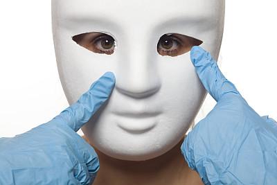 白色,女人,面具,化妆面具,乳胶,牛皮,面罩,超现实主义的,纯净